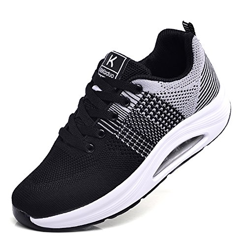 Women's Trainers Sports Running Shoes Knit Mesh Casual Sneaker Wedge Platform Walking Shoes Size Grey-black gaeuNG8