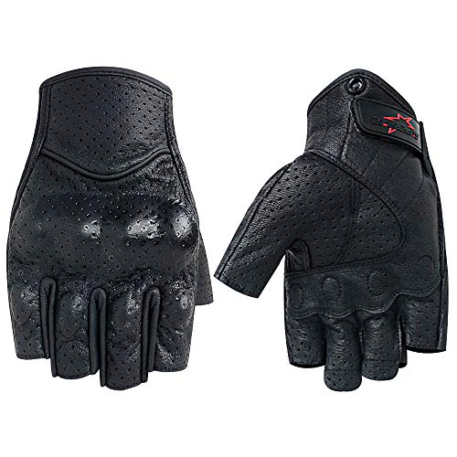Half Finger/Fingerless Motorcycle Gloves Genuine Goatskin Leather With Perforated Hole For Men/Women (Half Finger, XXL)