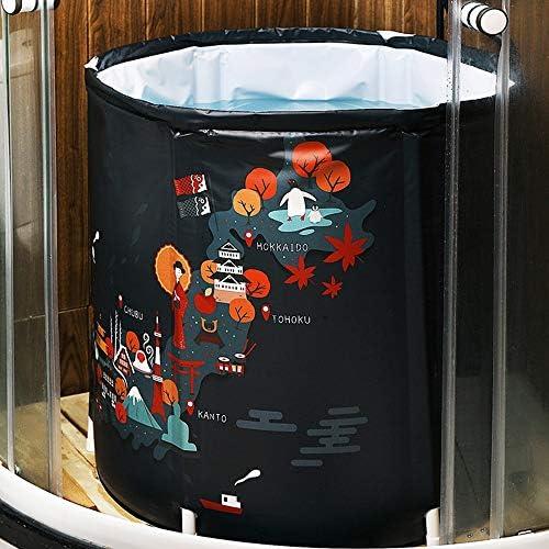 浴槽 バースバレル大人の折りたたみ風呂バレル家庭用フルボディ無料しゃがんバスタブ入浴シリンダー蒸しバケット65x70cm 大人用家庭用 (Color : Black, Size : 65x70cm)