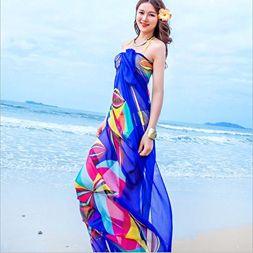 Topseller-Womens-Chiffon-Bikini-Cover-up-Summer-Beach-Swimwear-Sarong-Wrap-Cover-Dress-Scarf-Pareo-Blue