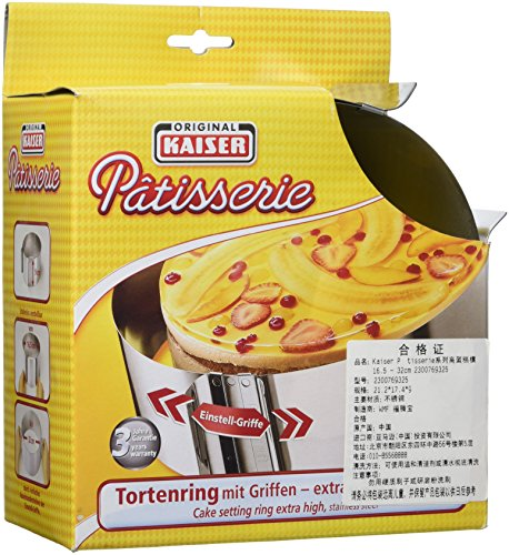 Kaiser 2300769325 Patisserie Tortenring mit Griffen, Edelstahl, extra hoch, 9 cm, einstellbar von 16,5 - 32 cm