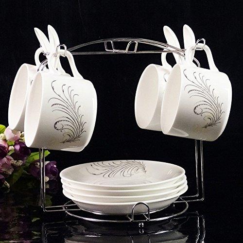 DHG European Ceramic Coffee Mug Set High-Grade Phnom Penh Creative Set of 4 Bone China Coffee Cup Saucer with Shelf,C by DHG (Image #1)