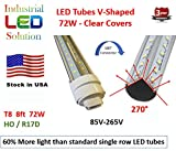 60% More Light - 6-Pack, Dual V-LED 8Ft Tube Light, 6000K (Cold white), Clear Lens with HO/R17D Connector Ends, T8/T12, 85V-265V AC, 72W - 7200 Lumens (120W Fluorescent equivalent)