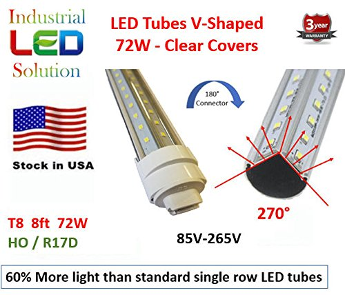 60% More Light - 6-Pack, Dual V-LED 8Ft Tube Light, 6000K (Cold white), Clear Lens with HO/R17D Connector Ends, T8/T12, 85V-265V AC, 72W - 7200 Lumens (120W Fluorescent equivalent) by Sunway