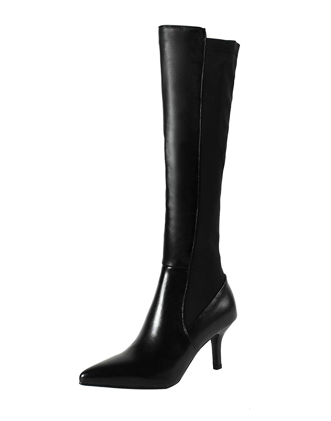 Black MAYPIE Womens Toanyho Leather Zipper Knee-High Boots