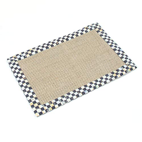 Courtly Check and Stripped Black and White Border Bath Rug 100% Sisal - Bath Rug - 2' Wide, 3' Long by MacKenzie-Childs