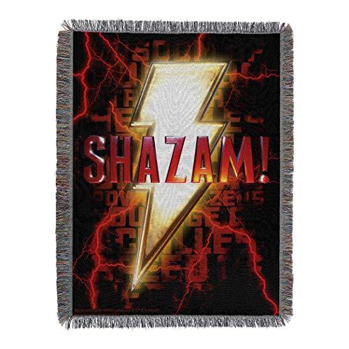 Warner Brothers DC comics Shazam!, Power of Shazam! Woven Tapestry Throw Blanket, 48