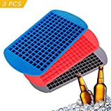 Heofean 3 Pcs Approved Food Grade Silicone 160 Grids Small Ice Maker Tiny Ice Cube Trays Chocolate Mold Mould Maker for Kitchen Bar Party Drinks Set of 3