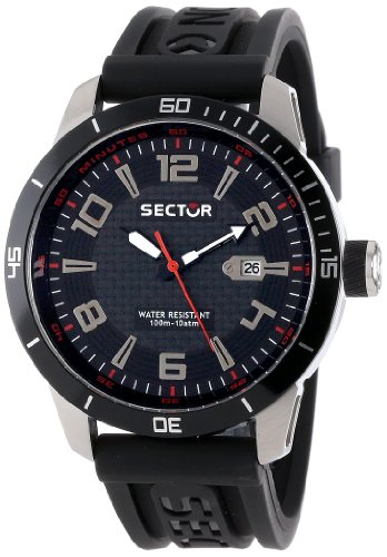 Sector Unisex R3251575002 Racing 850 Stainless Steel Watch with Black Rubber Band
