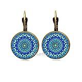 QUVLOTIAZJ Mandala Art Picture Glass Cabochon Earrings Sacred Geometry Yoga Om Fashion Jewelry Stud Earrings,ot359