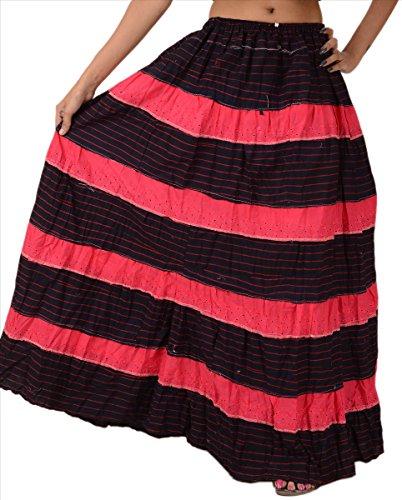 Falda 'n Bufandas Mujer Nueva Falda Larga Chikankari algodón impreso Maxi elástico Pink & Deep Blue