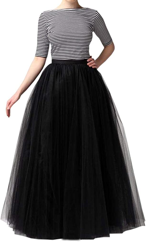 WDPL Wedding Planning A-line Maxi Long Tulle Skirt for Women Foor Length Evening Party Skirts