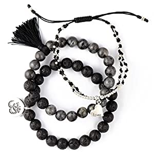 New Lava Rock Natural Stone Essential Oil Diffuser Tassel Bracelets for Aromatherapy | NATURAL Bug Mosquito Repellent | Distance Friendship Mala Tibetan Prayer Beaded | 20 OPTIONS | Gift Box Included