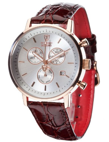 DETOMASO Men's DT1052-C MILANO Chronograph Classic Silber/Braun Analog Display Swiss Quartz Brown Watch