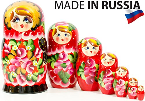Russian Nesting Doll - Traditional POLKHOV MAIDAN - Hand Painted in Russia - Medium Size - Wooden Decoration Gift Doll - Matryoshka Babushka (Red, 8``(7 Dolls in -