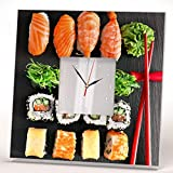 Sushi Japanese Sashimi Roll Wall Clock Framed Mirror Printed Art Asian Bar Decor Home Design Gift Review