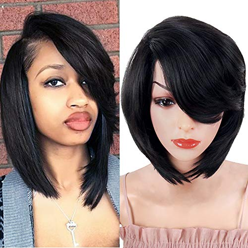 Search : YITI Short Pixie Cut Bob Synthetic Wigs for Women Heat Resistant Costume African American Wigs with Side Bangs Natural Brown Full Wigs Look Real+Free Wig Cap (BLACK-8764)