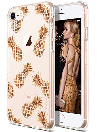 COOLWEE iPhone 8 Case,Clear iPhone 7 Case Rose Gold Shiny Glitter Cool Thin Pineapple Floral Soft TPU Bumper Protective Gold Case Cover for Apple iPhone 7 iPhone 8 4.7 inch (Sparkle Series) Pineapple