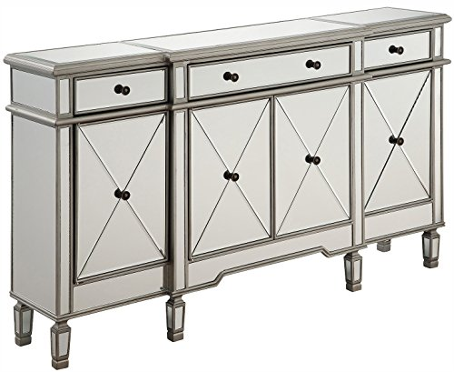 Silver / Clear 60in. Wide 4 Door Chest from the Danville Collection by Elegant Decor