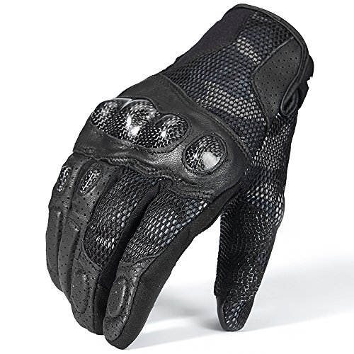ILM Motorcycle Gloves Touchscreen Leather Hard Knuckle Fit for Men Women (Black, M)