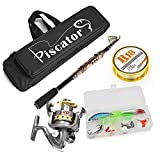 Rod and Reel Combos,Carbon Telescopic Rod+ LE3000 Fishing Reel +2.5 Fishing Line + Lure Baits & Hooks Box+ 50cm/19.7in Fishing Bag, Spinning Fishing Full Kit, Sea Rod Kit for Saltwater and Freshwater