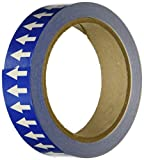 Accuform Signs RAW252BUWT Adhesive Vinyl Directional Flow Arrow Tape, 1'' Width x 54' Length x 0.006'' Thickness, White/Blue