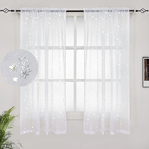 Each Sheer - BGment White Sheer Curtains 63 Inch Length- Silver Star Foil Printed Rod Pocket Sheer Curtains For Bedroom, 2 Panels (42