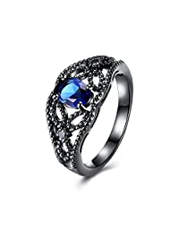 YLR 18K Black Gun Plated Fashion Women Jewelry Solitaire Cubic Zirconia Ring