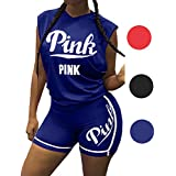 2 Piece Outfits Women, Letter Print Tank Top Short Pants Tracksuits Set