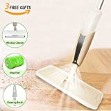 ULIHOME Microfiber Floor Spray Mop Kit, 360 Degree Rotation Lazy Mop Set Professional Wet Dry Mop Reusable Mop Pads, Window Squeegee Brush Cleaning Hardwood, Laminate, Tile Floor