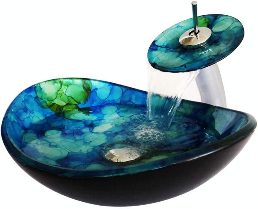 HomeLava Juego de grifo de vidrio templado y grifo de vidrio templado con anillo de montaje de drenaje de agua de grifo de cascada