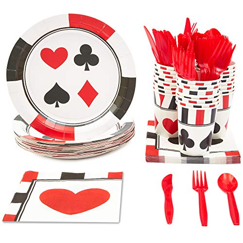 Casino Themed Party Decorations (Blue Panda Casino Party Supplies - Serves 24 - Plates, Knives, Spoons, Forks, Cups and)