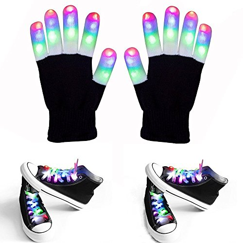 3 Pairs per Set LED Flashing Gloves and Shoelaces include 1 Pairs of White Flashing LED Gloves, 2 Pairs of White Multi-color LED Shoelaces for Rave, Party or Hip-pop Dancing (Black Gloves+ Shoelace) -