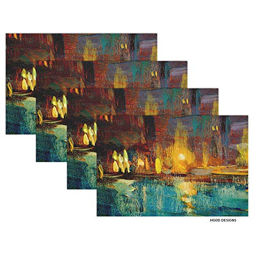 HGOD DESIGNS Lake and Lights Placemat,Night Landscape to Venice Painting by Oil Placemat Kitchen Tablemats Perfect for Dinner Table Waterproof Oilproof Set of 4 Placemat 12