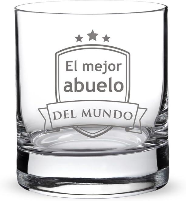 """AMAVEL – Vaso de Whisky con Grabado – """"El Mejor Abuelo del Mundo"""" – con Escudo Estampado – Regalo para Abuelos – Presente para el Día del Padre – Detalles para él – Capacidad de 320 ml"""