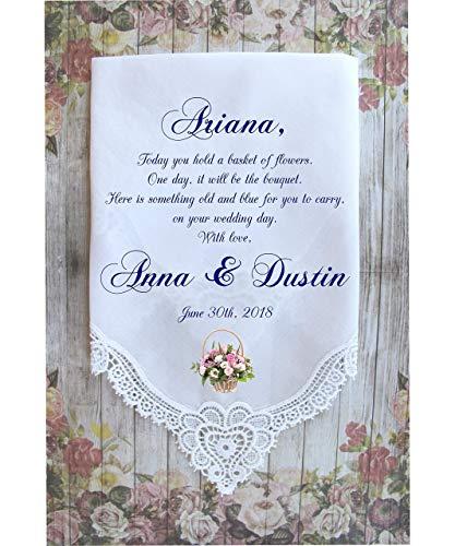 Flower Girl Handkerchief-wedding handkerchief-Flower girl gift-custom PRINTED wedding hankie, hanky, gift, favour -