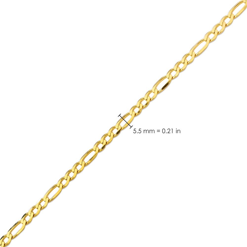 10K Yellow Gold 5.5mm Solid Figaro Chain Necklace (24 inches) by LOVEBLING (Image #4)