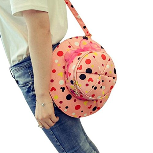 Kikisale NEW Small Round Cute Hat Bag Zipper Shoulder Bag Multifunction Shoulder Diagonal Handbags (Hot Pink)