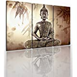 Buddha Canvas Wall Art Painting Modern Design Picture For Home Office Decor - 5 Pieces Zen Religious Framed On Wooden Frame Image Pictures Photo Artwork Decoration Ready To Hang…