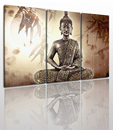 - Buddha Canvas Wall Art Painting Modern Design Picture For Home Office Decor - 5 Pieces Zen Religious Framed On Wooden Frame Image Pictures Photo Artwork Decoration Ready To Hang...