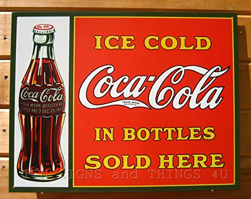 ShopForAllYou Vintage Decor Signs Ice Cold Coca Cola Sold Here TIN Sign Vintage Coke Metal Poster Wall Decor 1047
