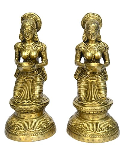 Brass Oil Lamp Diya Lady With Flower Sitting Statue Pair by Bharat Haat BH00701
