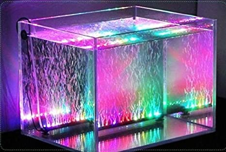 Xcellent Global Luz de 12 LED RGB multicolor LED para acuario Lámpara de burbujas resistente al agua con flash lento Flash 31 CM con enchufe europeo LD080E: ...