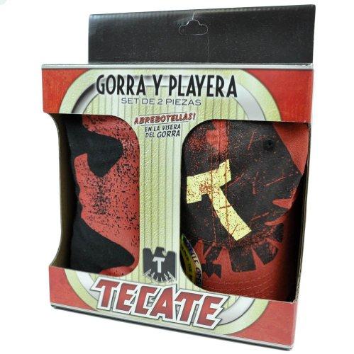 Tecate Beer Bottle Opener Hat Cap Gorra Playera Medium MD T Shirt 2 Piece Set