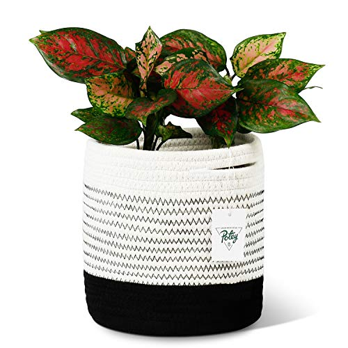 "POTEY 700303 Woven Cotton Rope Plant Basket for 7″ Flower Pot Floor Indoor Planters, 8"" x 7.5"" Decorative Small Basket for Plants Storage Basket Organizer Modern Home Decor, Black & White Mix Stripes"