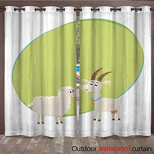 RenteriaDecor Outdoor Curtain for Patio Farm Black Spotted Cow Looking at White Smiling Goat W96 x L108