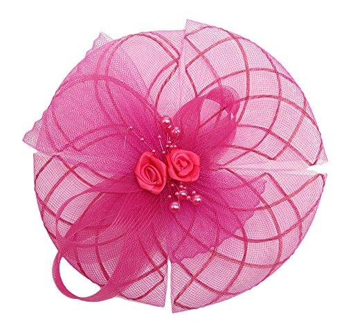 I'MQueen Hat Fuschia Wedding Fascinator Hair Clip Headdress Headband for Juniors