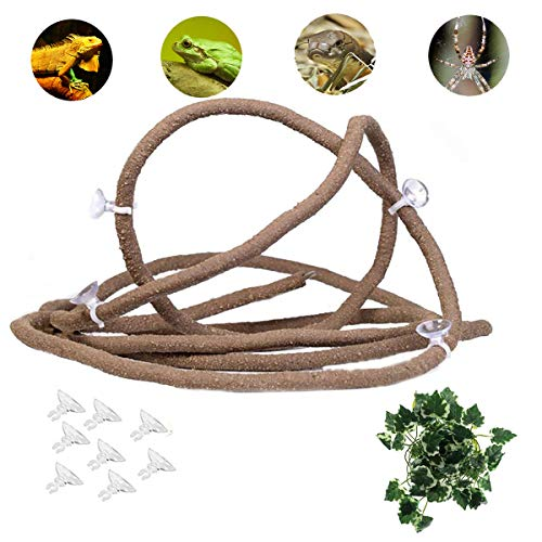Tfwadmx 79-in Reptile Vines, Flexible Pet Habitat Decor Climber Jungle Long Vines for Climbing Crested Gecko Lizard, Frogs, Snakes and More Reptiles ()