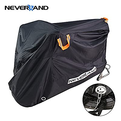 NEVERLAND Motorcycle Cover,Outdoor Waterproof 2010D Oxford Cloth UV Dust Protector lockable Bandage scooter Cover Fit Off-Road Street Sport Cruiser Touring Bike