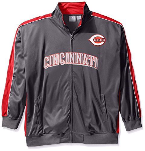 MLB Cincinnati Reds Men's Team Reflective Tricot Track Jacket, 5X, Charcoal/Red by Profile Big & Tall